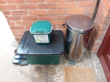 Recycling containers outside 1